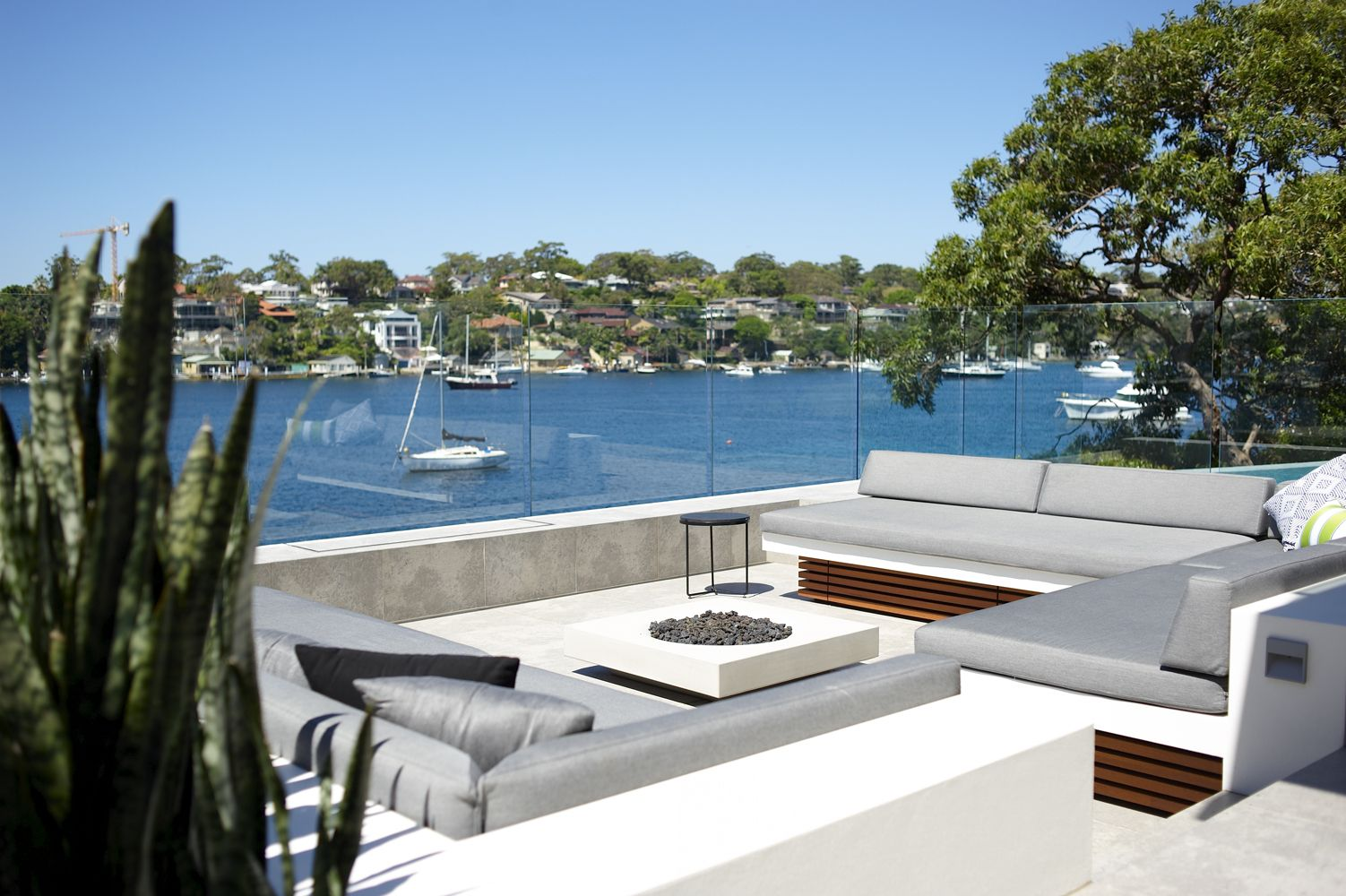 Waterfront entertainment area | Outdoor spaces, Indoor ... on Waterfront Backyard Ideas id=92409