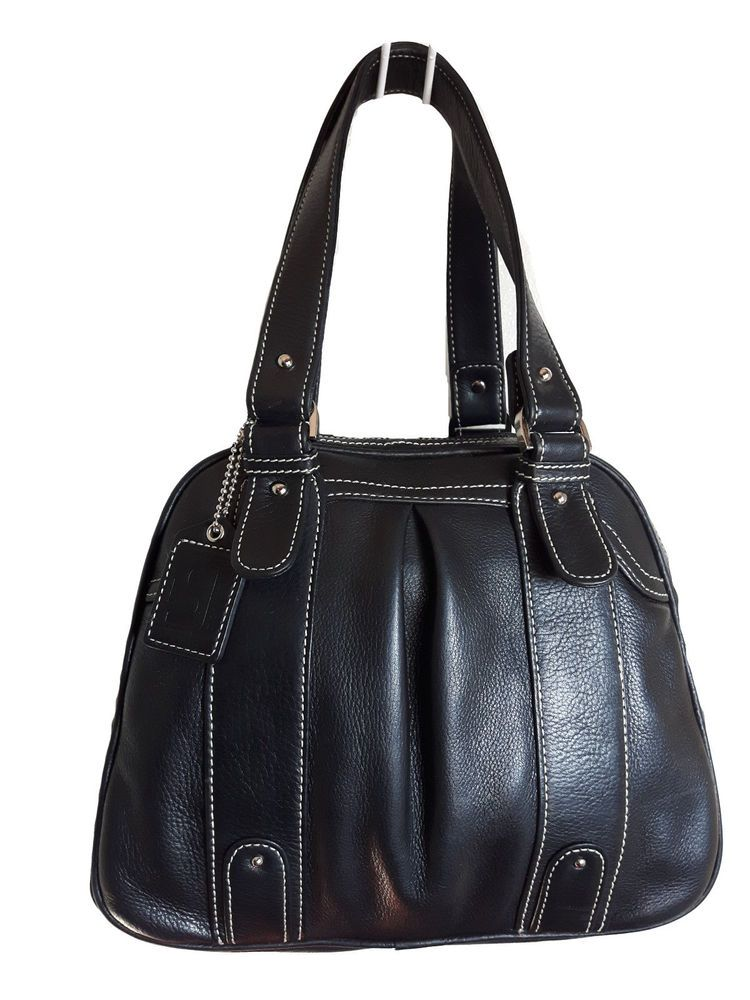 Soprano Genuine Ery Black Leather Silver Studded Dome Top Zipper Handbag
