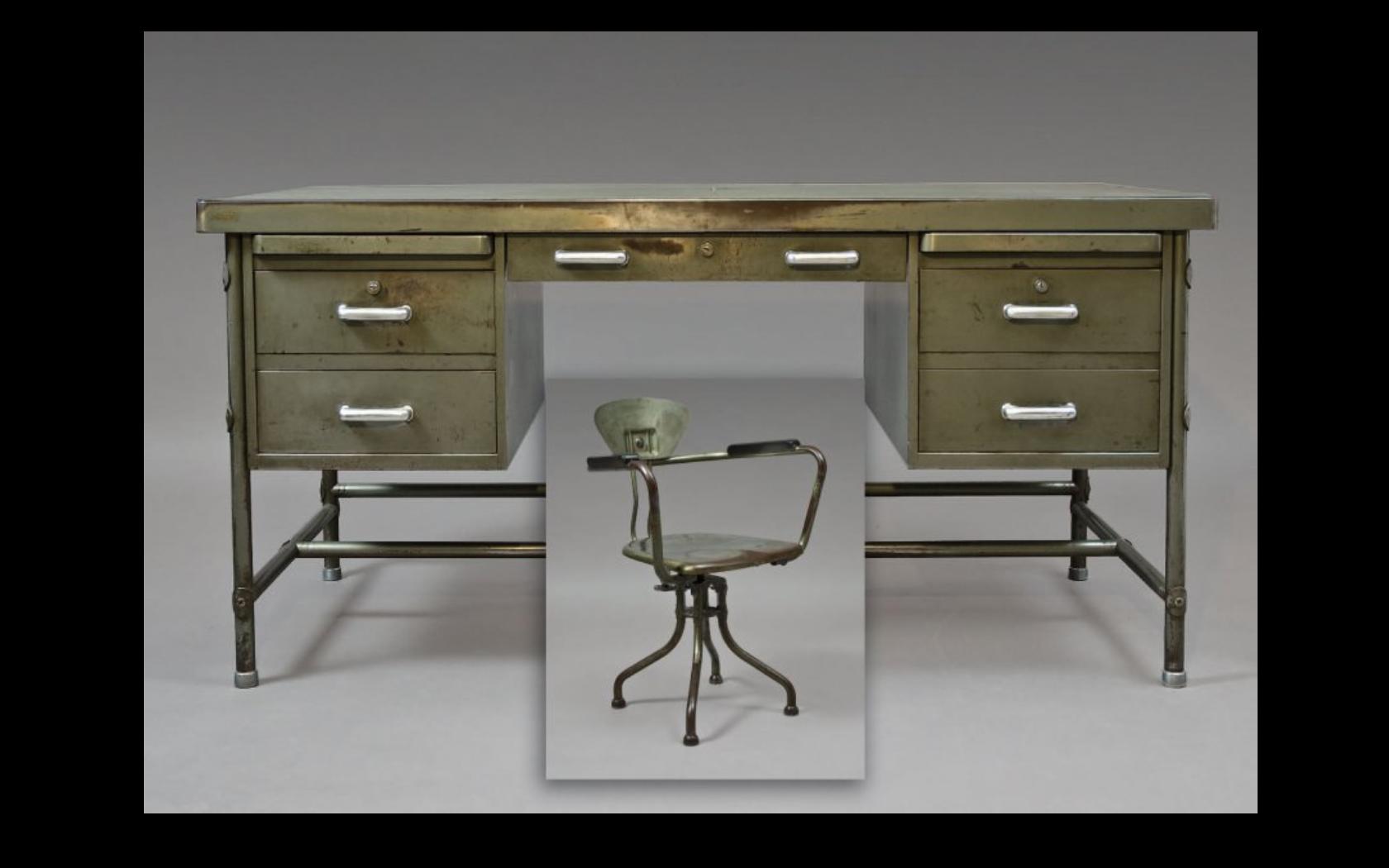 RenÉ herbst 1891 1982 bureau et fauteuil à structure en acier