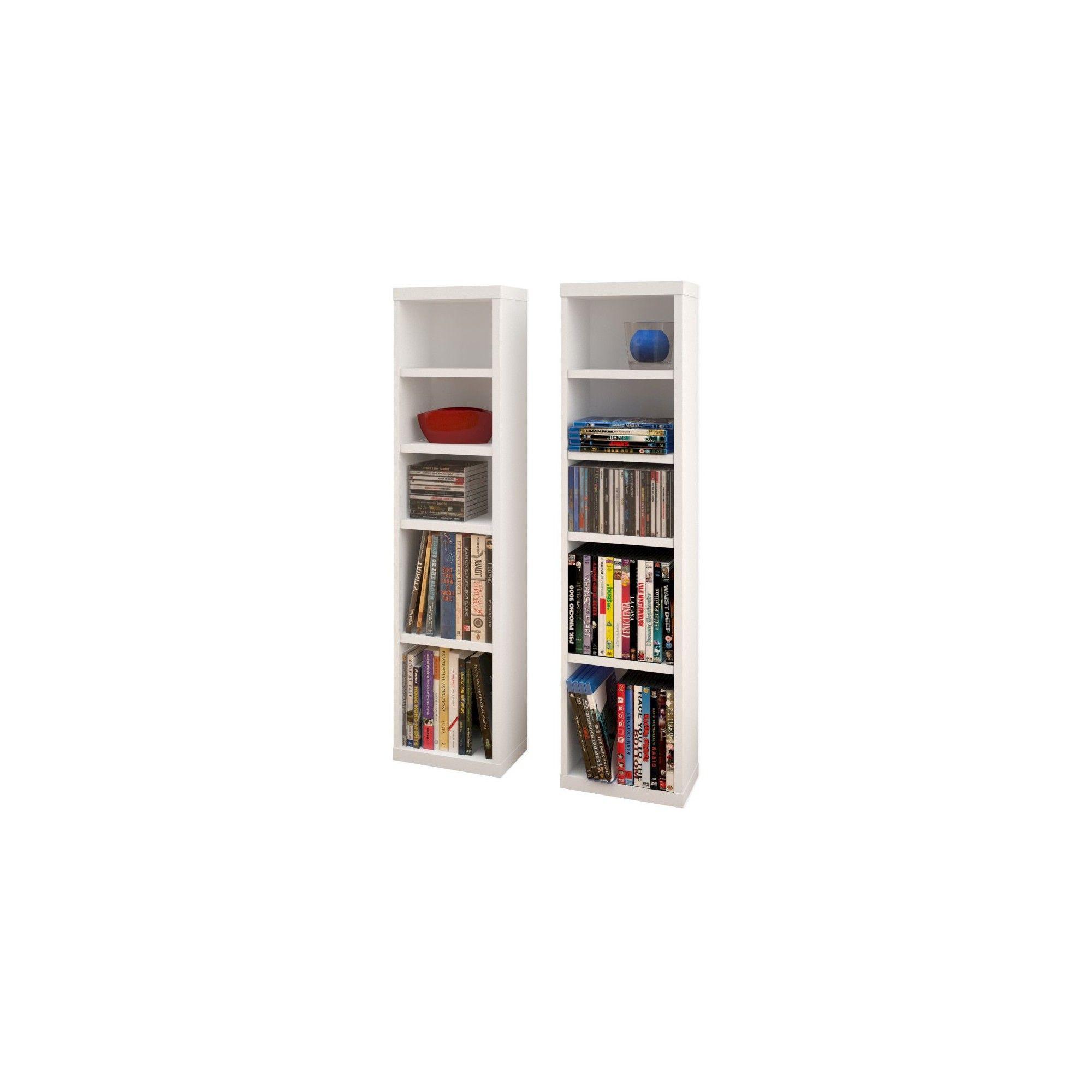 Liber T CD Dvd Storage Tower White and Walnut Set of 2 38 Nexera