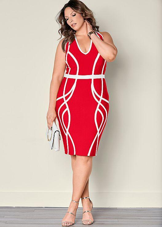 Slimming Color Block Dress Plus Size Fashion Pinterest Dresses