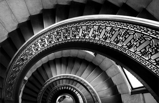 Photography Stair Curve Never Ending Black And White