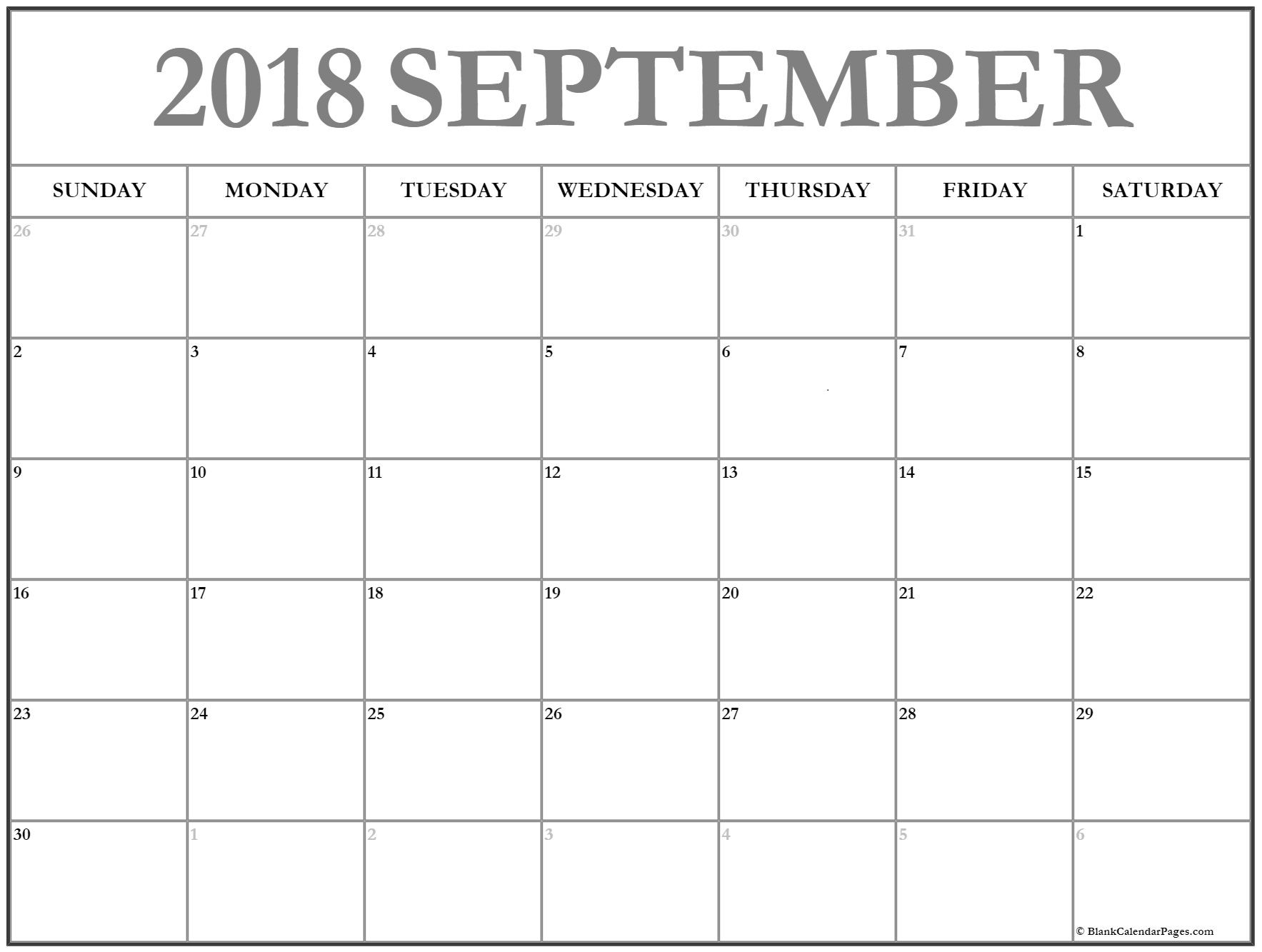 September 2018 Blank Calendar Printable Template Calendar Printables Monthly Calendar Printable Calendar March