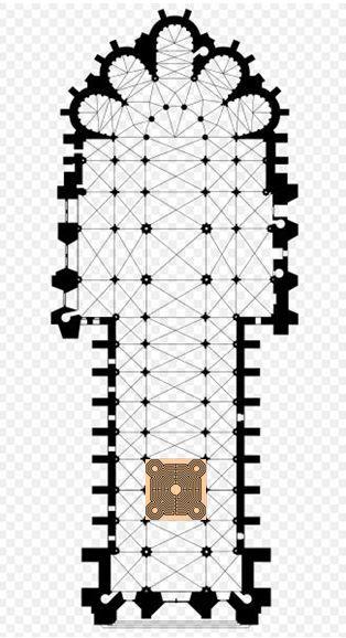 Notre-Dame de Reims - labyrinthe L'orientation de la cathédrale est selon un axe Sud-Ouest Nord-Est. La cathédrale est donc orientée non pas vers l'Orient, mais dans l'axe du solstice d'été.