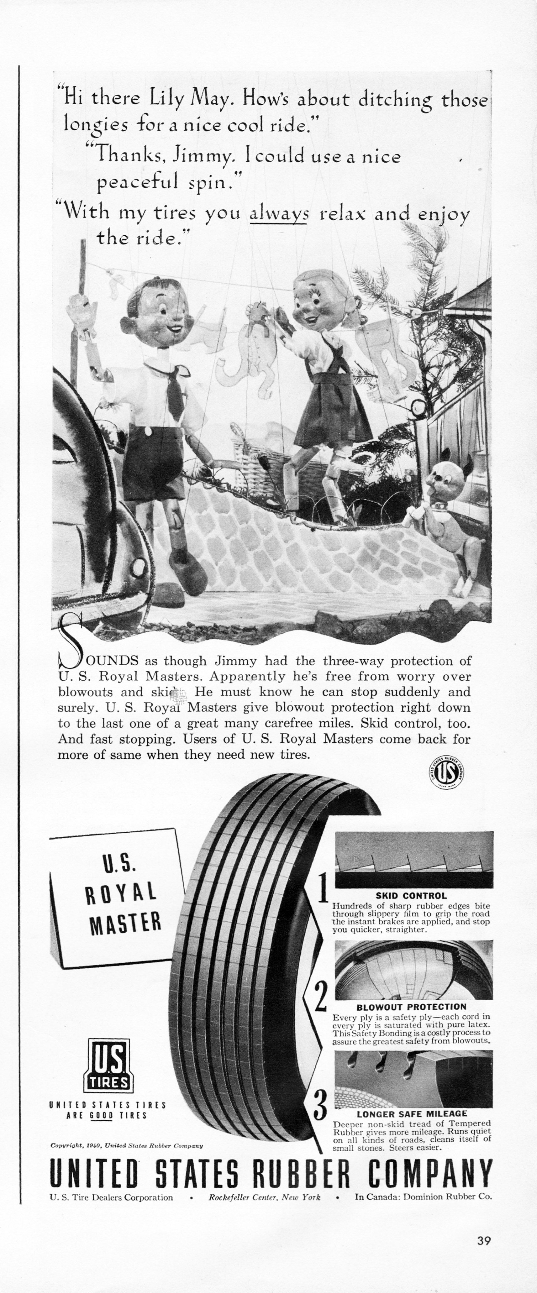 US Rubber Tire Ad from July 8, 1940 issue of Life magazine | Wheels ...