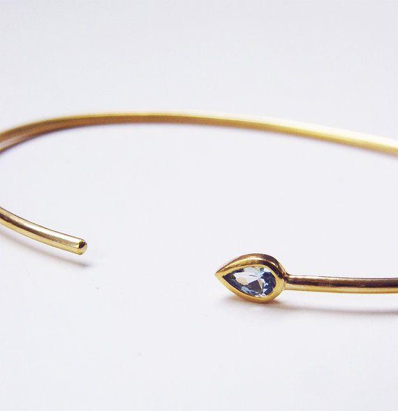 Aquamarine Teardrop Gold Bangle OOAK by friedasophie on Etsy