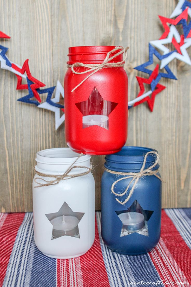 Patriotic mason jar lanterns jars lanterns and mason jars