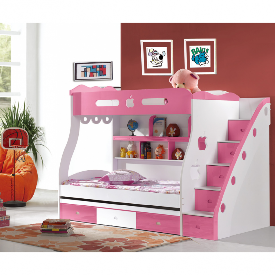 Beautiful Bedroom, : Chic White Pink Girls Bunk Bed Design For Cheerful Girls Bedroom  Decor Ideas