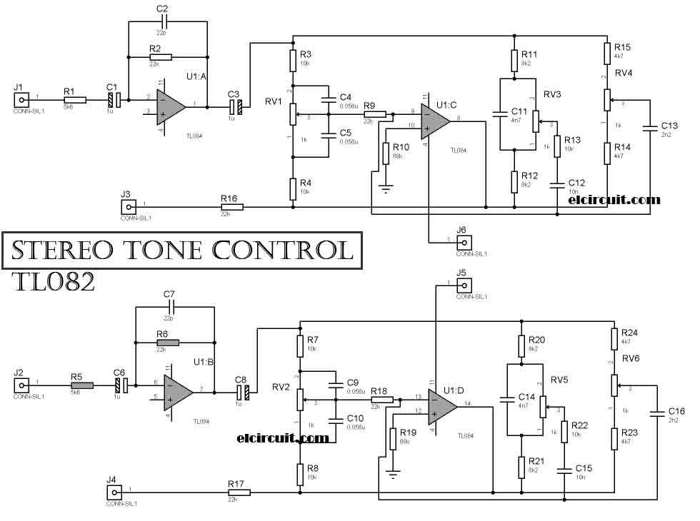 Stereo Tone Control Circuit Uses Tl084   Tl074