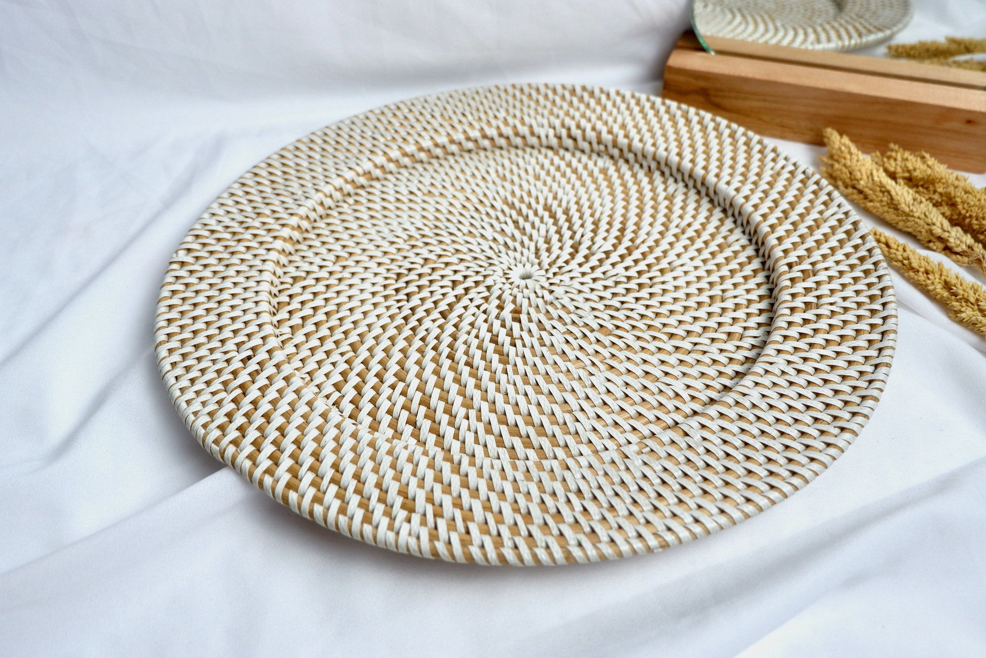 Natural Rattan Placemats Or Coaster Sets Wicker Round Plate Etsy Placemats Placemat Sets Dining Table Setting