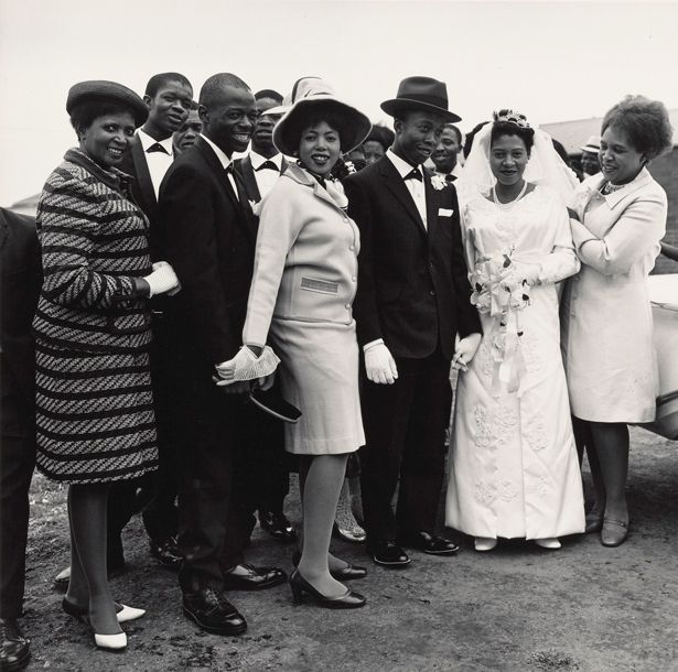 David Goldblatt (South African, born 1930), A Bridal Party, Orlando East, Soweto, 1970, Gelatin silver print, 24.5 x 24.7 cm (9 5/8 x 9 3/4 in.), The J. Paul Getty Museum, Los Angeles, Purchased with funds provided by the Photographs Council, © David Goldblatt