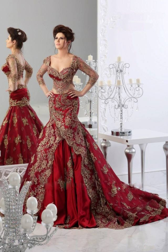 2a75ca60bb32 Kaftan Dubai Arabic Wine Red Wedding Dresses Sweetheart Three Quarter  Sleeves Two Pieces Mermaid Bridal Gowns with Gold Applique