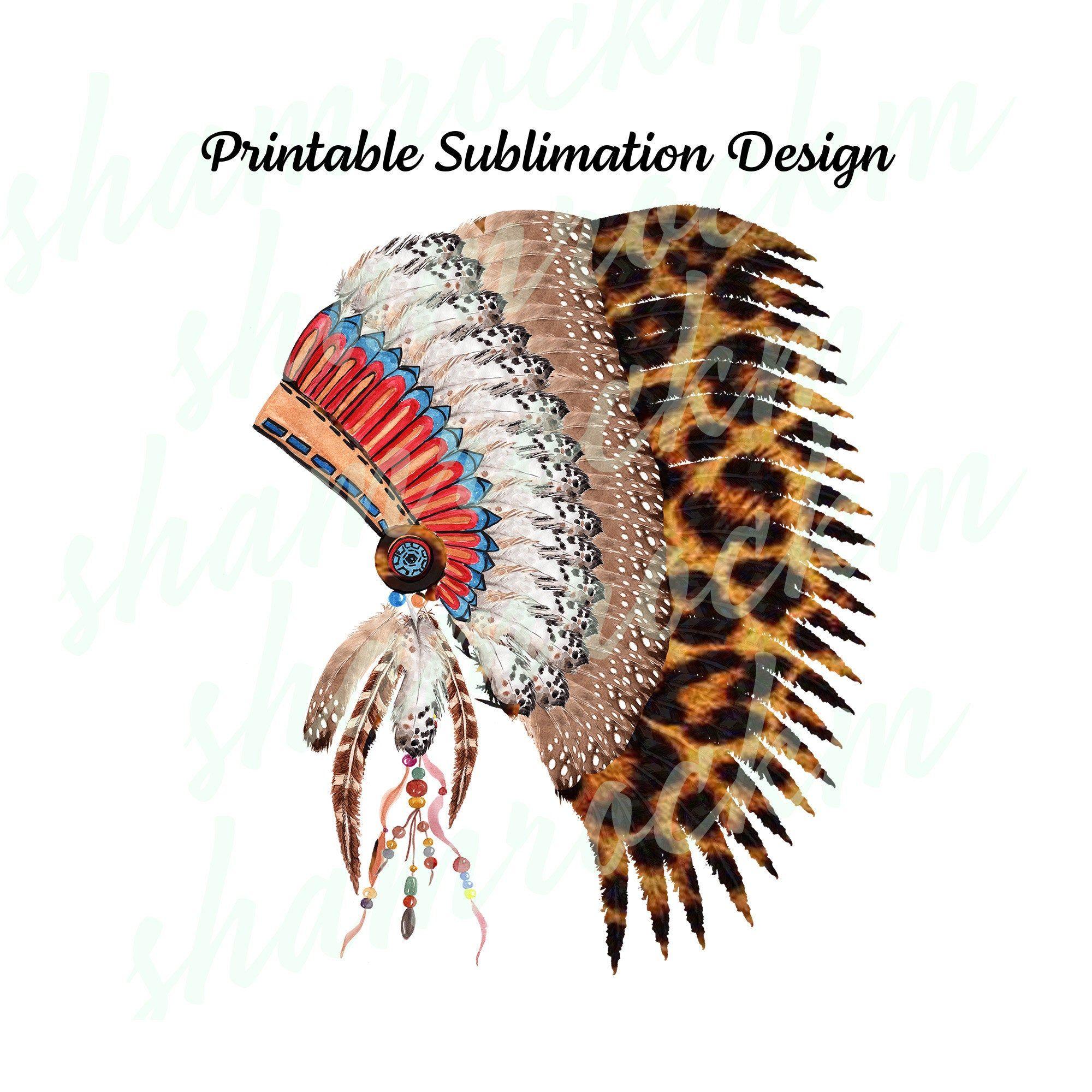 Printable Sublimation Design Native American Headdress Png Etsy Native American Headdress Digital Art Design Stencil Patterns Templates