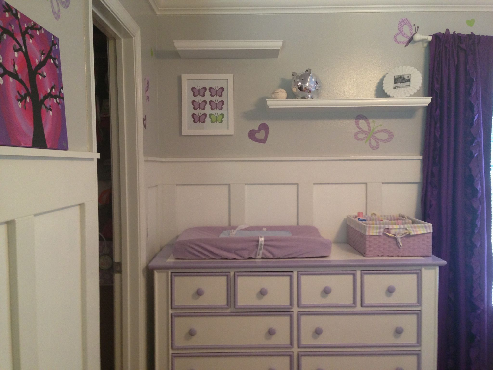 nursery baby purple and girl dresser repainted pin accents with gray sanded