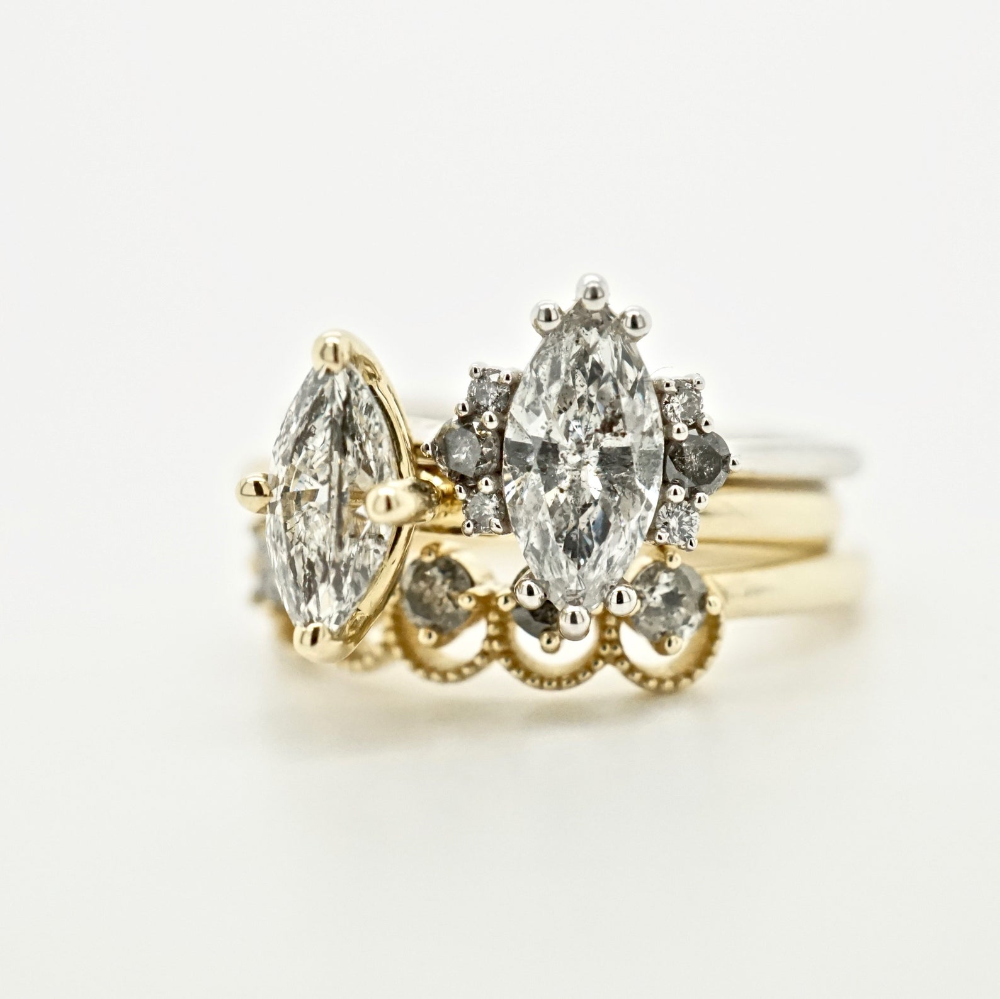 Marquise Diamond Engagement Ring Salt And Pepper Marquise Ring In 2020 Marquise Diamond Engagement Ring Diamond Engagement Salt And Pepper Diamond