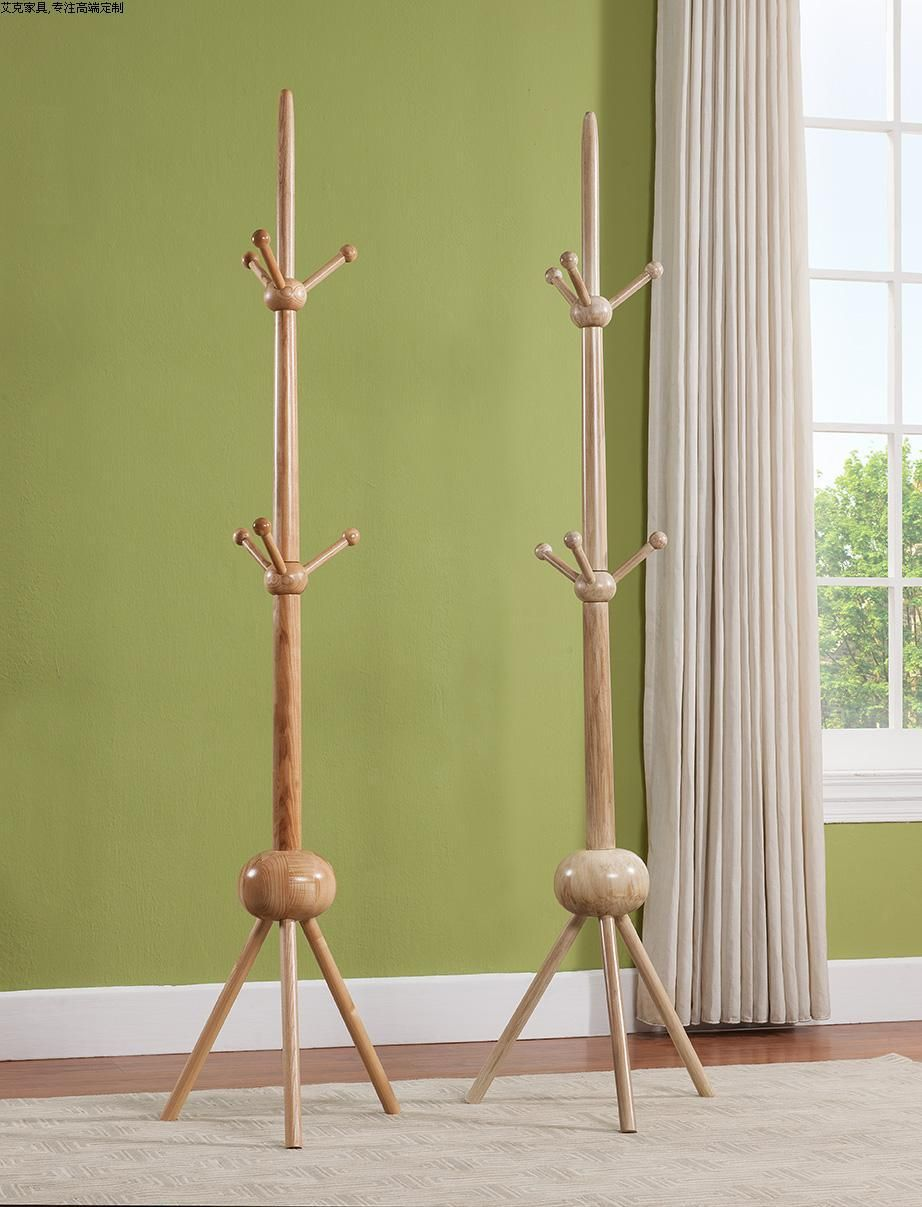 100% Fraxinus Mandshurica Hatrack,3 Layer Wooden Coat Rack Stand 196cm,wood  Hook