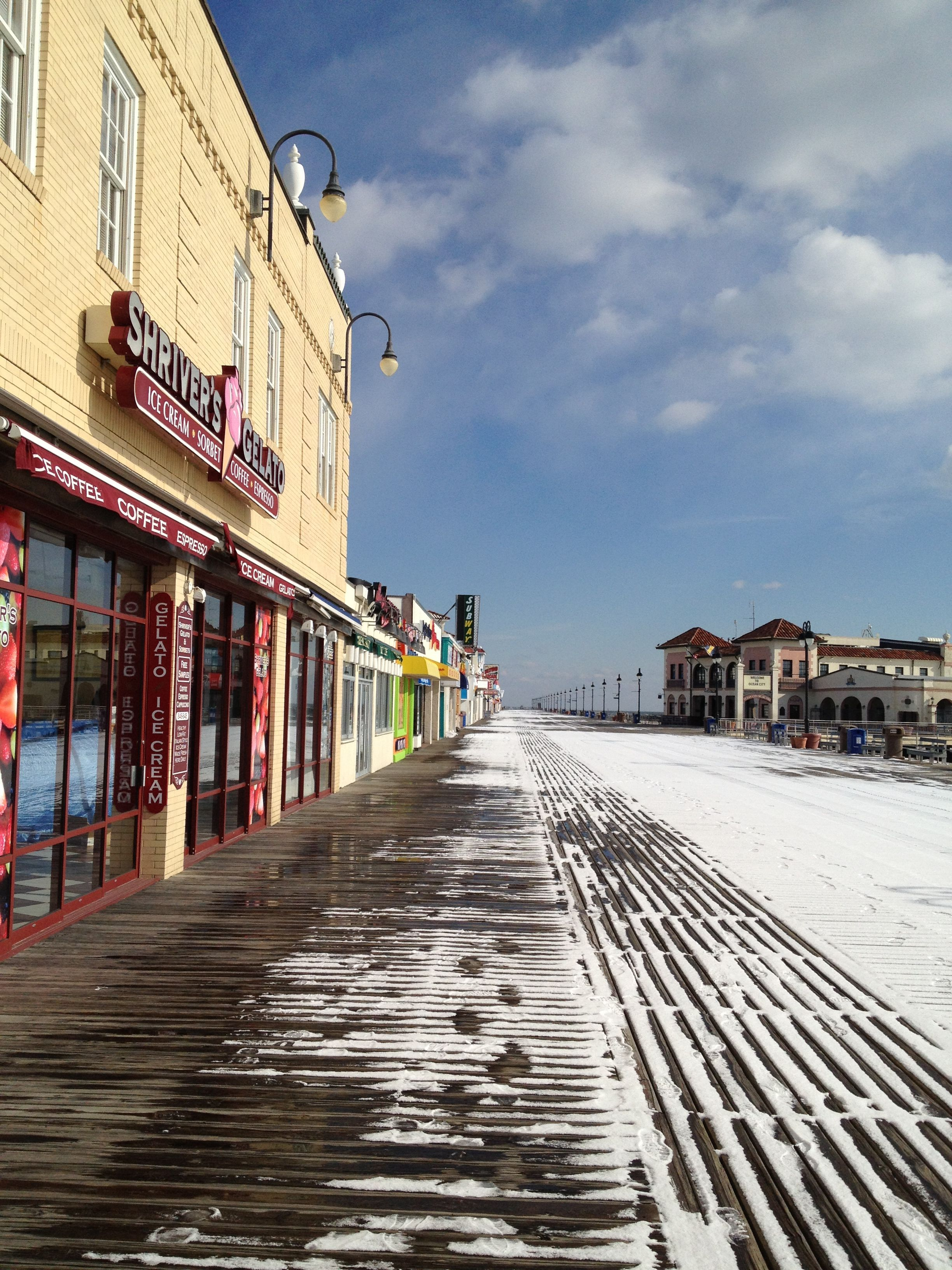 Snow Covered Boardwalk Ocean City Nj Ocean City Nj Bethany Beach Boardwalk New Jersey Beaches