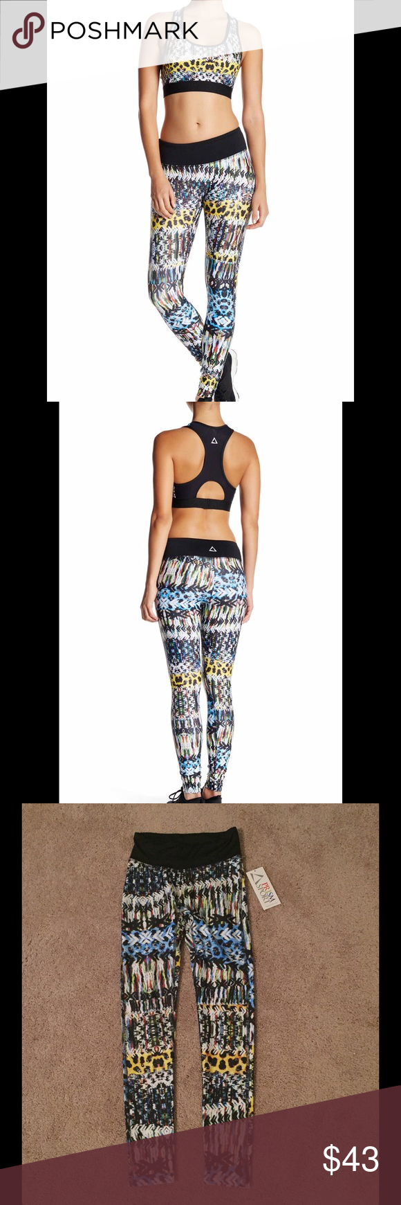 Primsport Legging Elasticized waist, on-seam pocket, multicolor print with contrast solid waist, banded trim, moisture wicking fabric. Made in USA. Printed fabric: 83% polyester, 17% spandex. Solid fabric: 88% polyester, 12% spandex. Machine wash. Primsport Pants Leggings