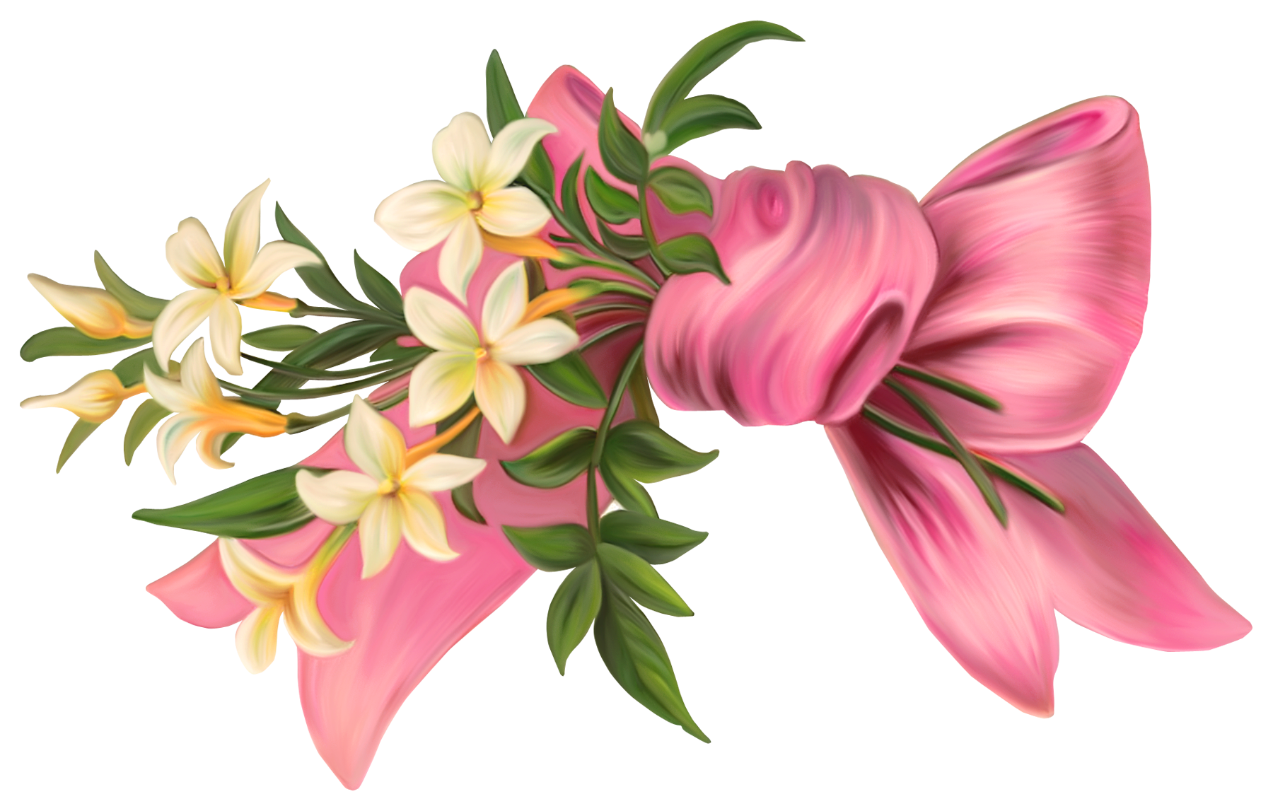 Pink Bow with Flowers PNG Element Kvety