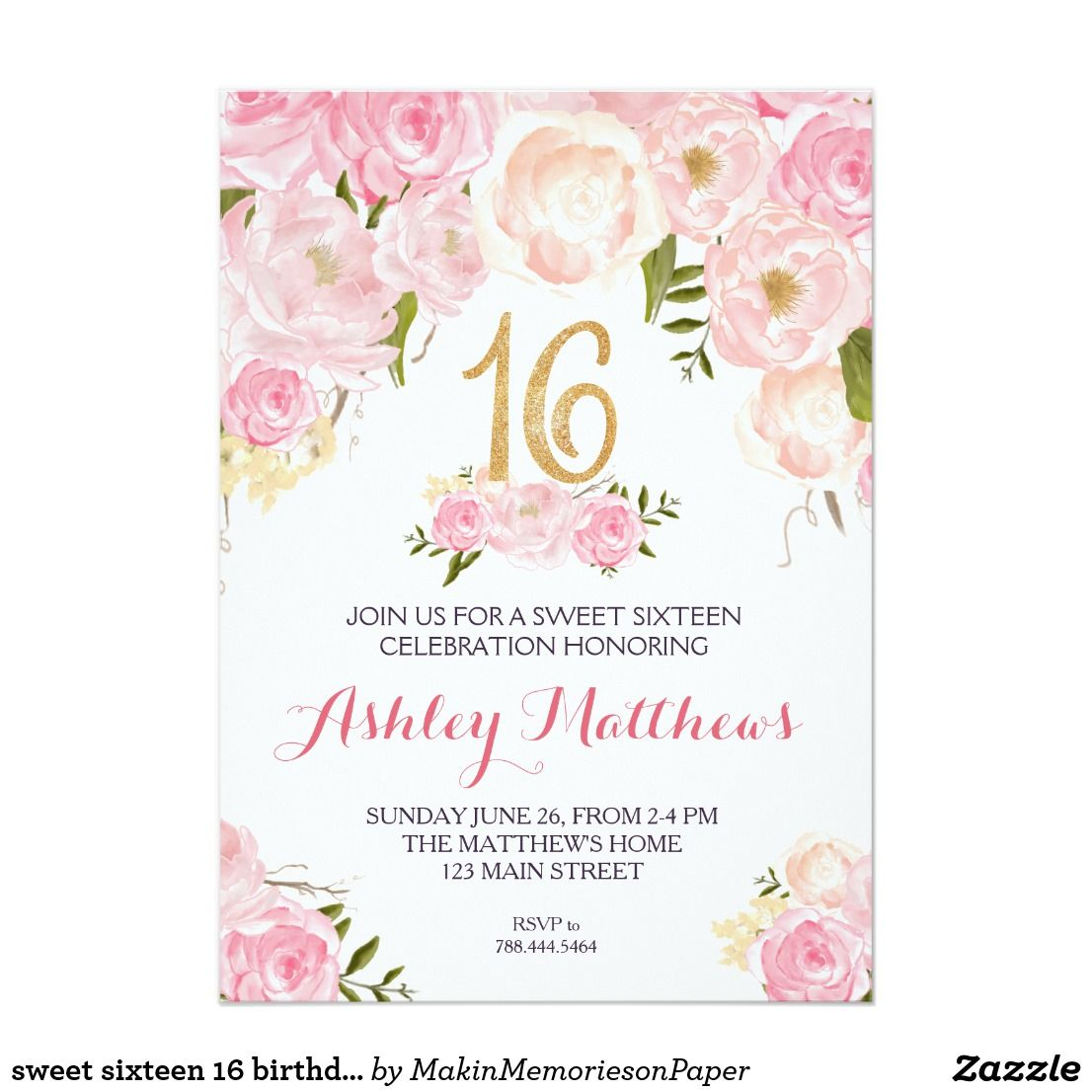 sweet sixteen 16 birthday floral invitation invitation in 2018