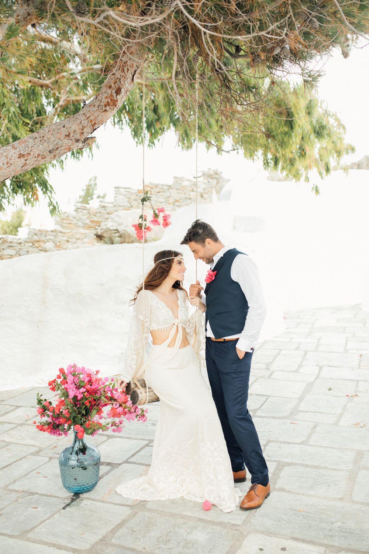 www annaroussos com Bougainvillea-inspired Grecian wedding