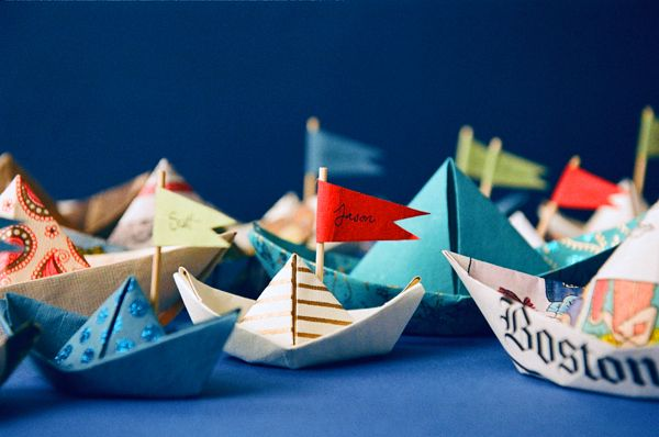 Nantucket Cobalt Tablescape Paper Boat Place Cards Once Wed Paper Boat Origami Boat Crafts For Kids