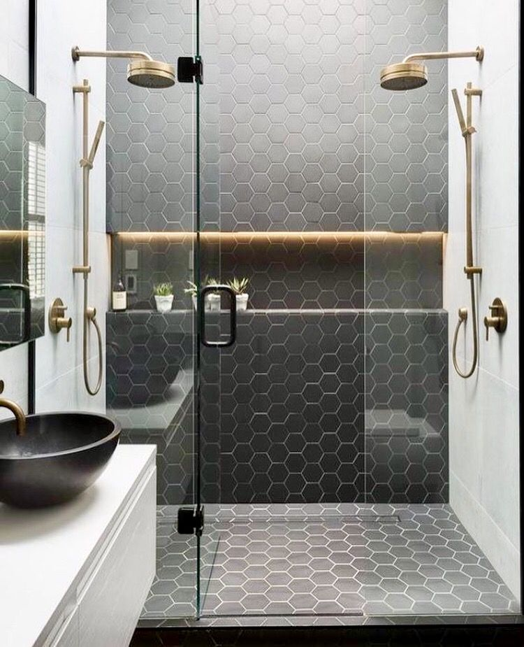 If We Did Concrete Floor In The Bathroom These Hex Tiles Like This On Shower Floor And One Wall And White Bathroom Design Beautiful Bathrooms Bathroom Layout