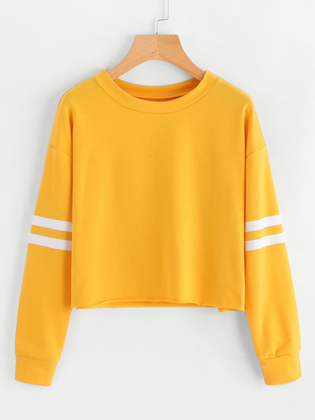 ca9d75698d6d Shop Varsity-Striped Sleeve Sweatshirt online. SheIn offers Varsity-Striped  Sleeve Sweatshirt   more to fit your fashionable needs.