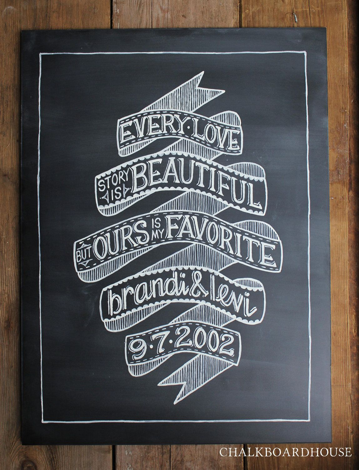 Such a lovely reminder of your wedding day!  Customized chalkboard art - use signs at the ceremony/reception, hang on your wall for future memories // Found @CHALKBOARDHOUSE on Etsy