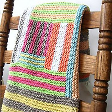 Grannycore Crazy Cabin Baby Blanket Knitting Pattern Log Cabins