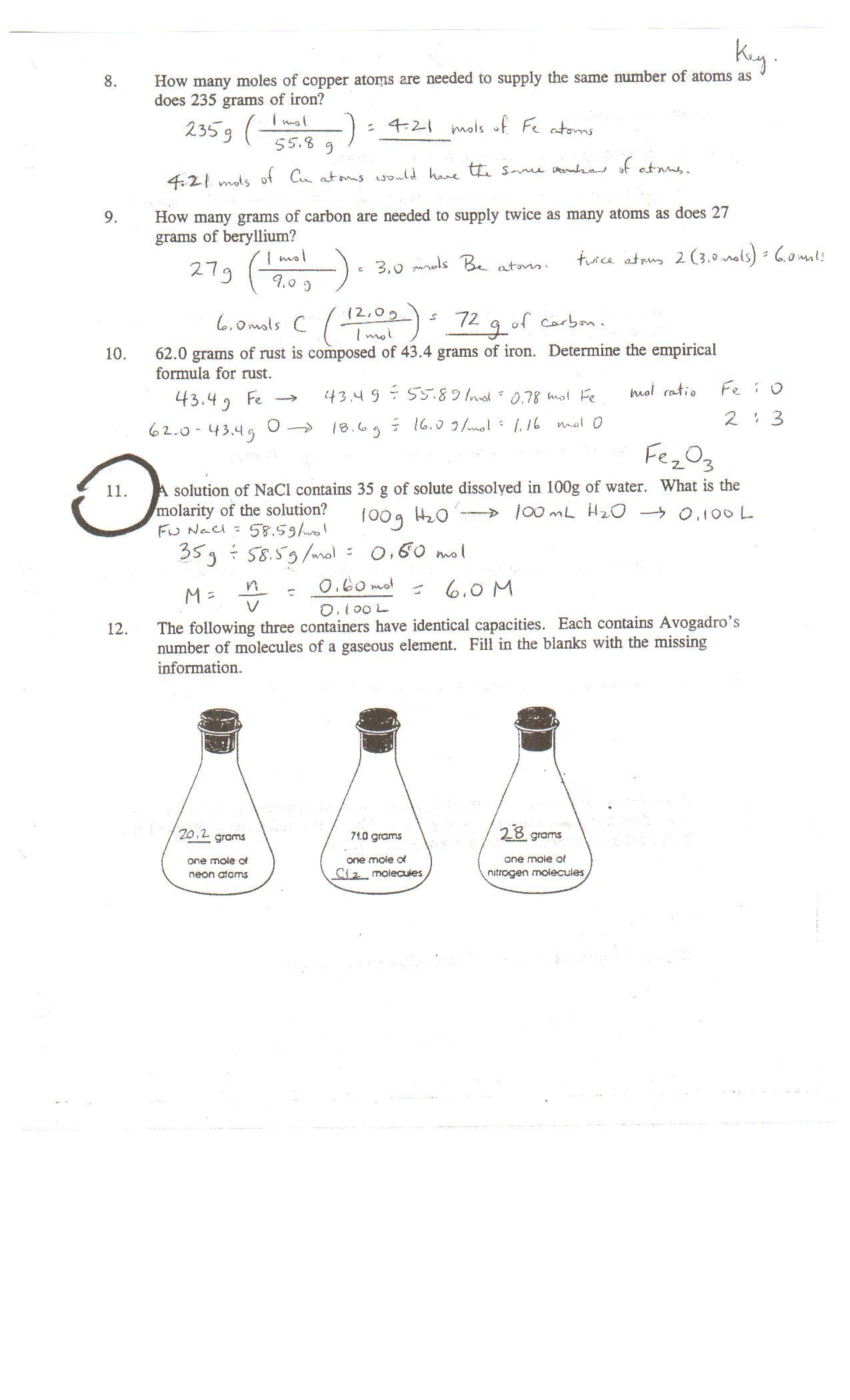New Chemistry Review Worksheet Answers