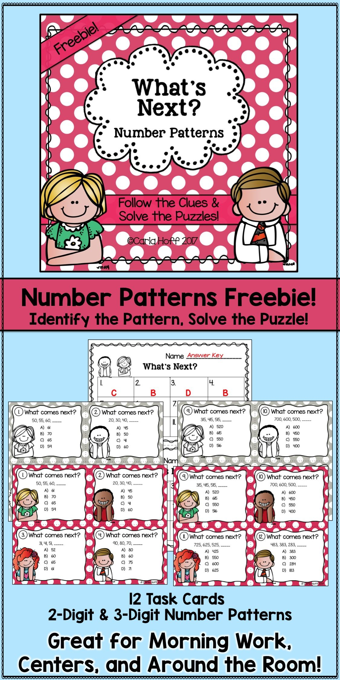 What Comes Next Number Patterns Task Cards