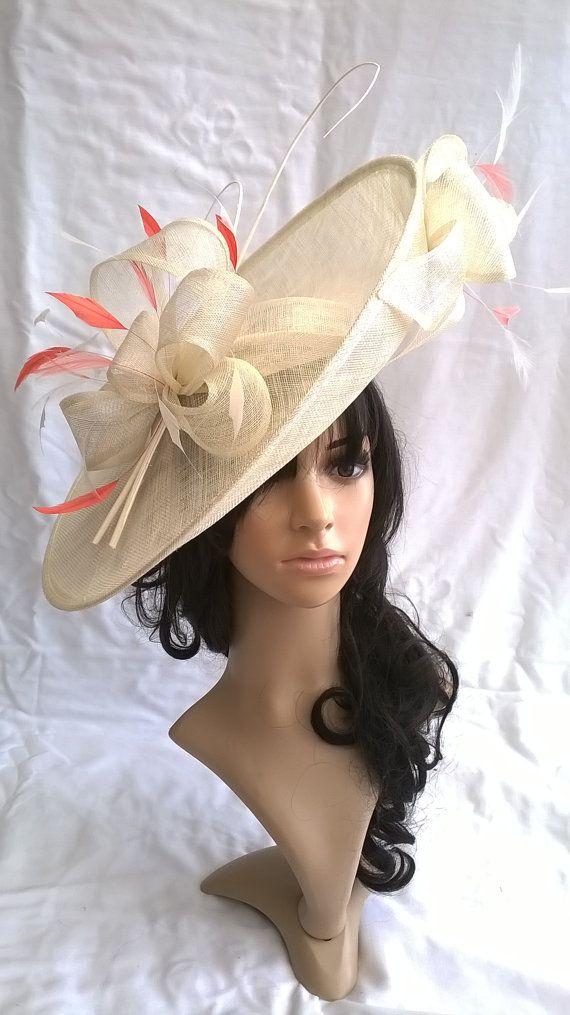 154e9fac68a6d Ivory Hatinator..Stunning Sinamay Fascinator Hat on a Headband ...