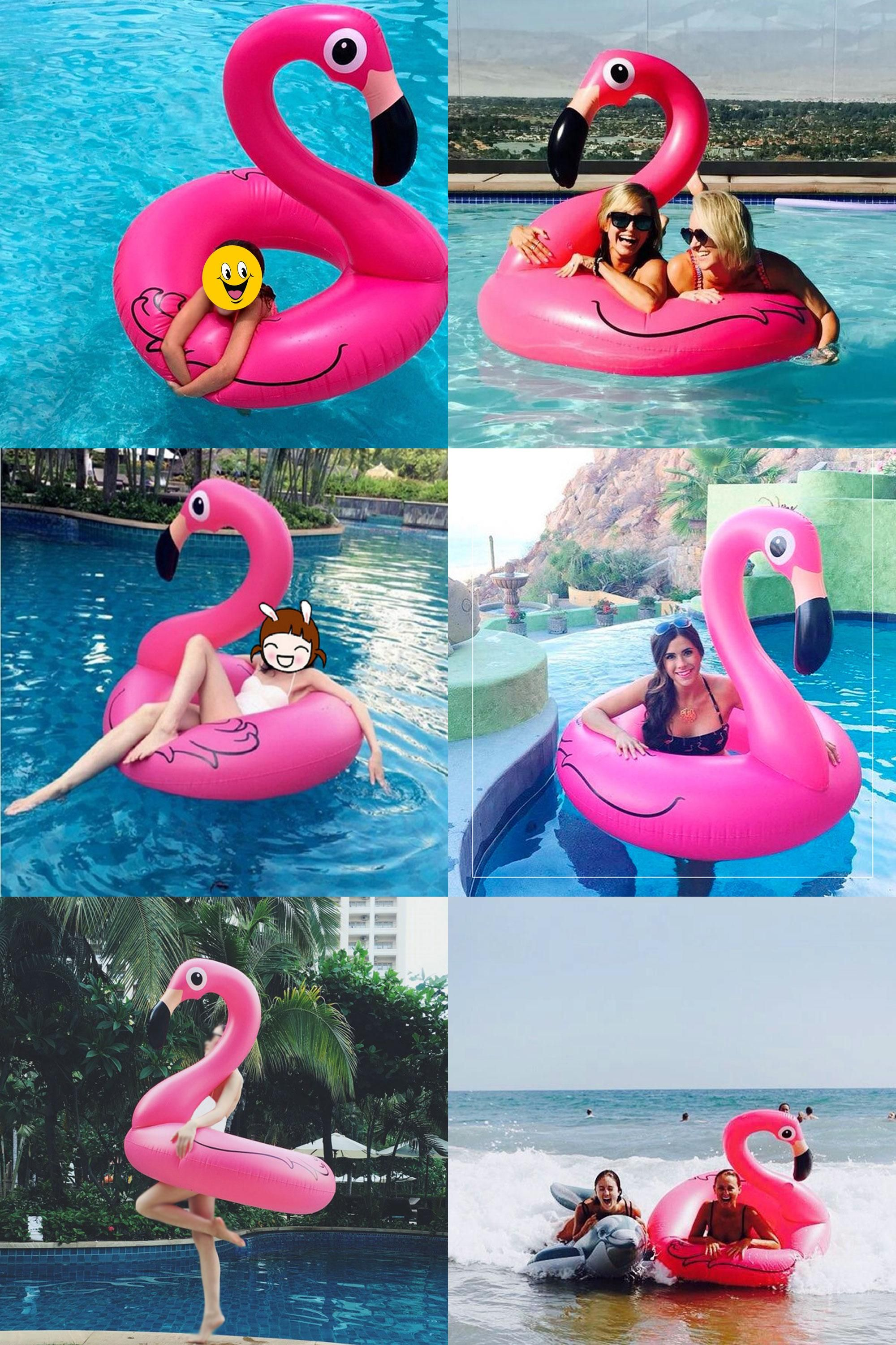 Visit to Buy] Inflatable Flamingo Pool Float Circle Air Mattress