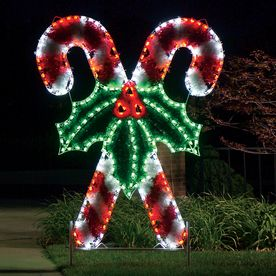 Outdoor Christmas Decorations Candy Canes Holiday Lighting Specialists 83Ft Crossed Candy Canes Outdoor