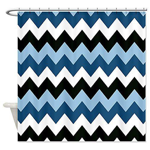 Cafepress Blue And Black Chevron Shower Curtain Decorative Fabric Shower Curtain Yo Chevron Shower Curtain Black Chevron Shower Curtain Diy Bathroom Decor