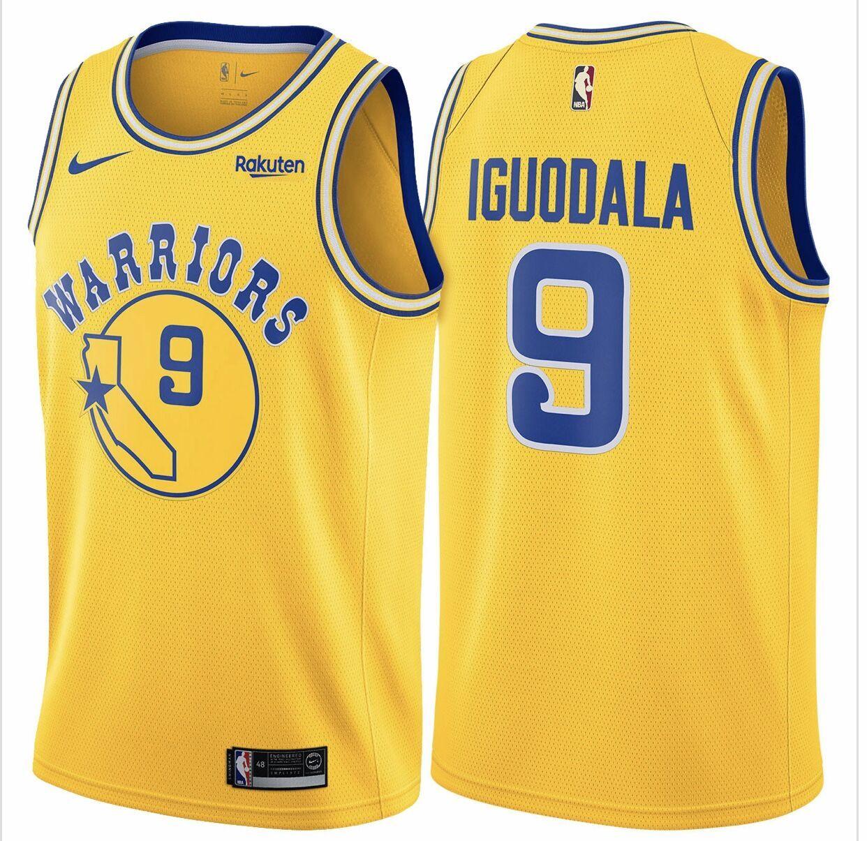 38aa8a1d Nike Warriors #9 Andre Iguodala Gold Throwback NBA Swingman Hardwood  Classics Jersey