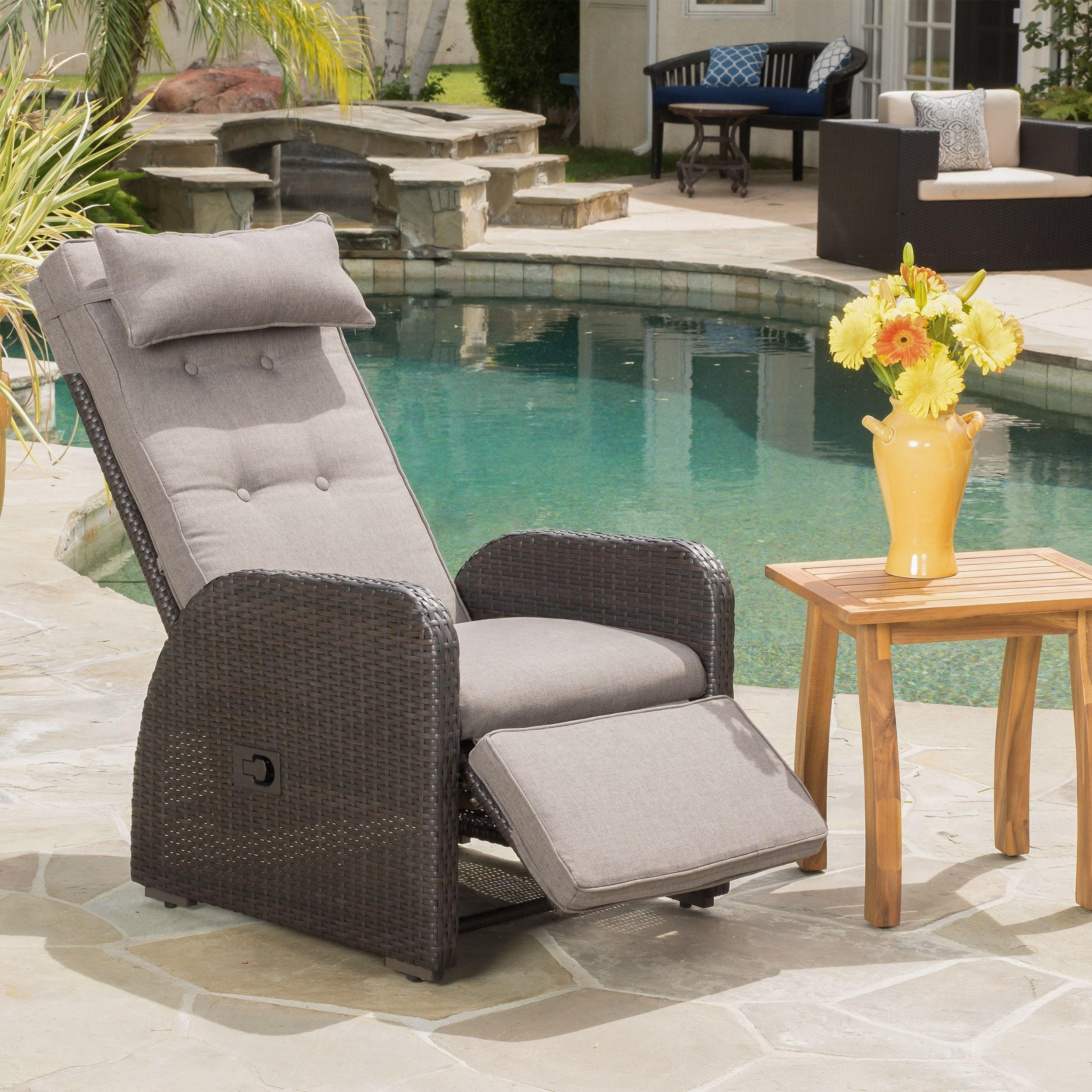 Christopher Knight Patio Furniture.Ostia Wicker Recliner With Cushion By Christopher Knight Home Brown