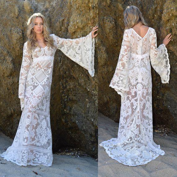 VTG Crochet Lace 70s Bell Sleeves FESTIVAL Angel Southwestern Boho Hippie Wedding Dress Sheer With