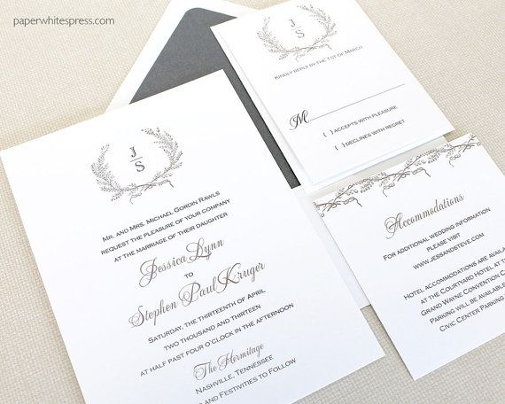 Laurel Wreath Wedding Invitation Monogram by paperwhitespress – Wedding Invitation Monograms