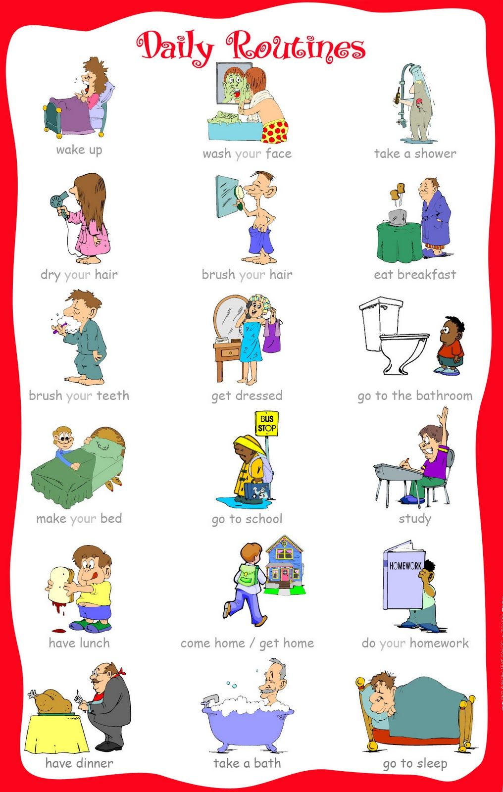 DAILY ROUTINES English vocabulary English and Learning english
