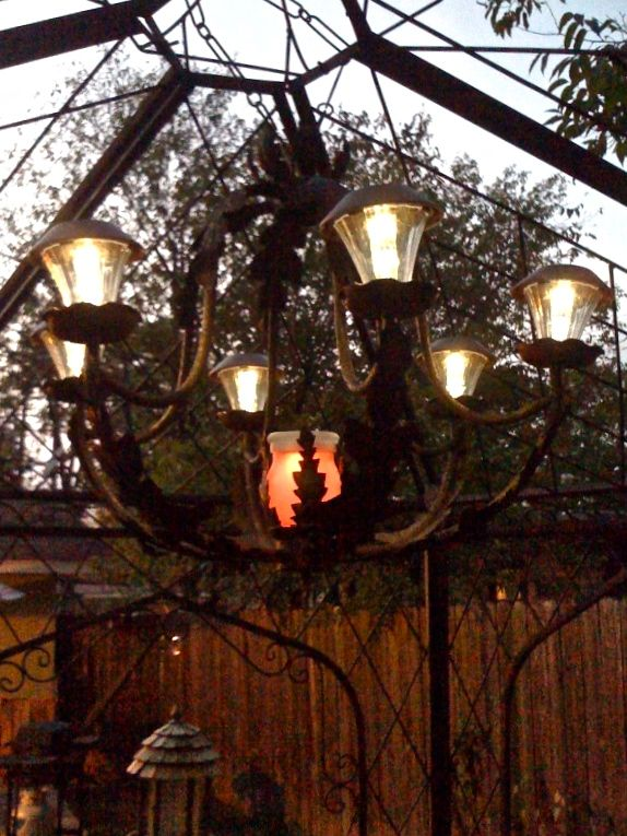 Solar chandelier repurposed chandelier with solar lights for patio solar chandelier repurposed chandelier with solar lights for patio make your own diy solar chandelier check out kats awesome gazebo lights curbside aloadofball Images