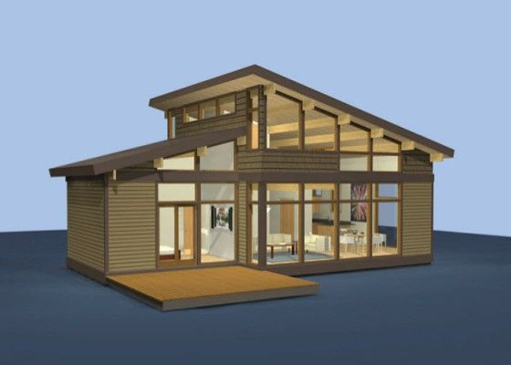 Ideas para construir casas peque as novedosas for Casas modernas techos inclinados