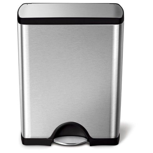 Simplehuman 50 Liter Rectangular Step Trash Can, Fingerprint ...