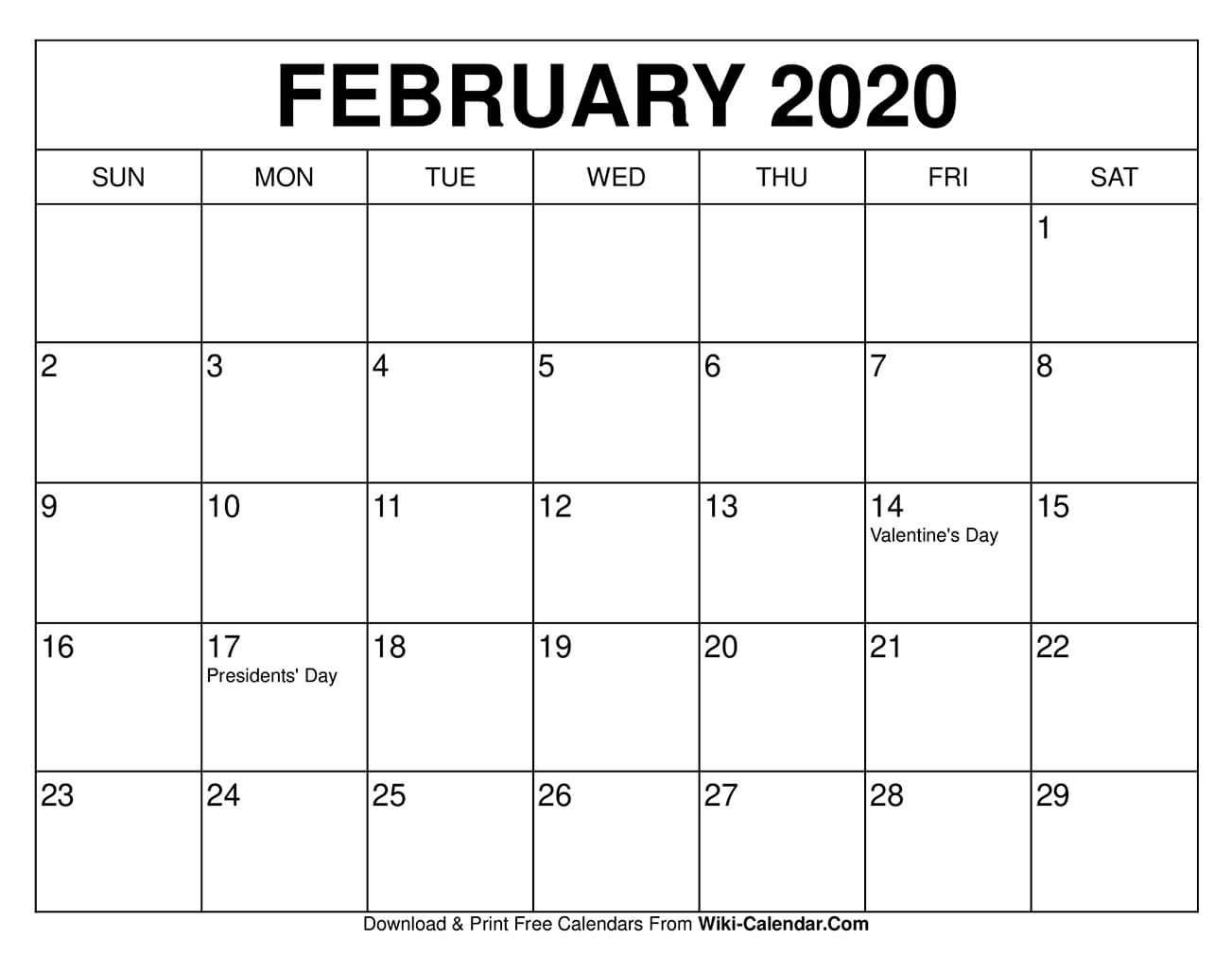 Free Printable February 2020 Calendar Templates These Free February Calendars Are Pdf Files That Do Free Calendars To Print Calendar Printables Free Calendar