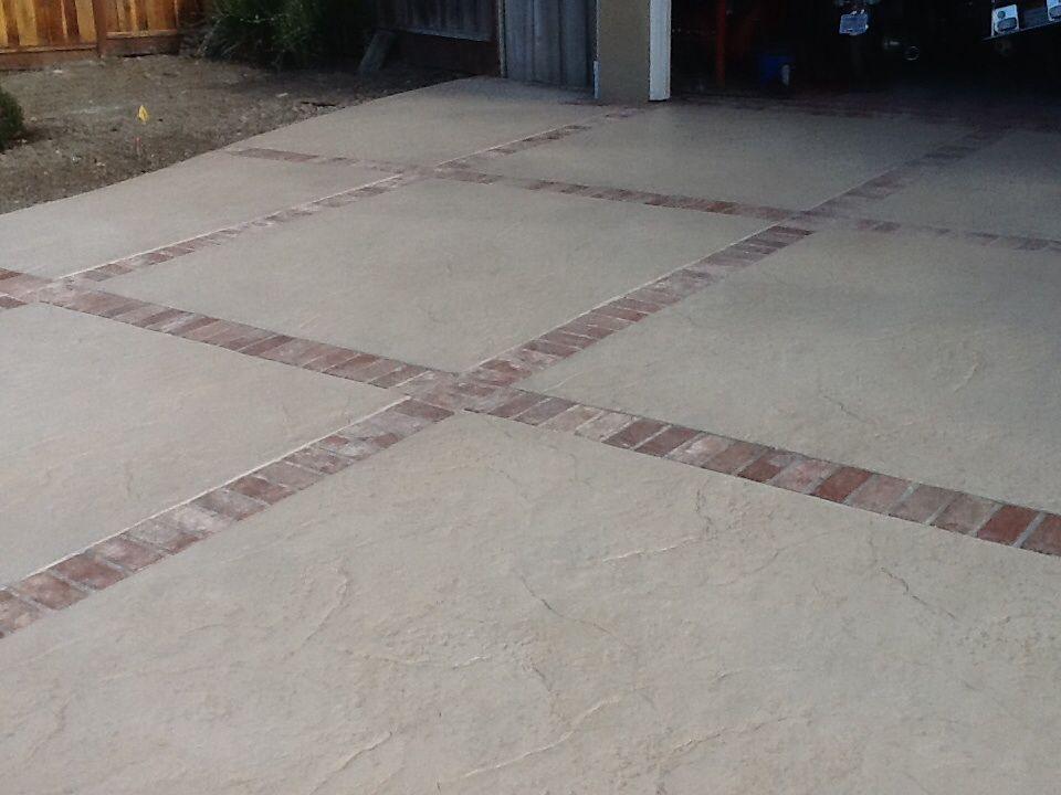 stamp concrete used brick dividers
