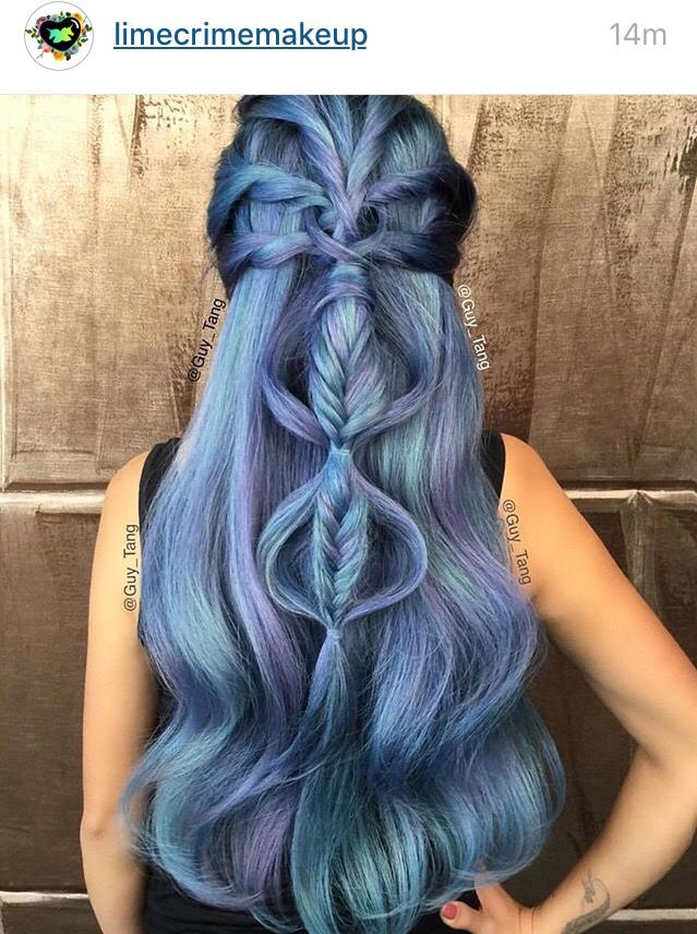 Cool braid, blue, silver, pink, green, black, mixed colors