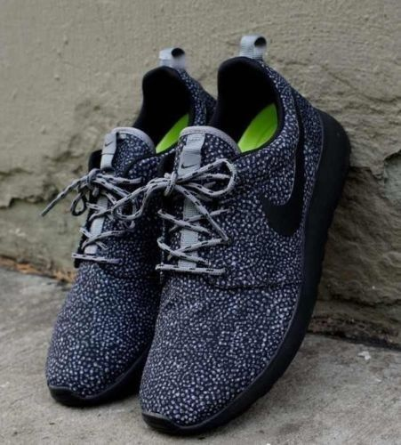 Details about Womens Nike Roshe Run Black White Dots Safari Spots Flyknit  Fragment Triple Grey