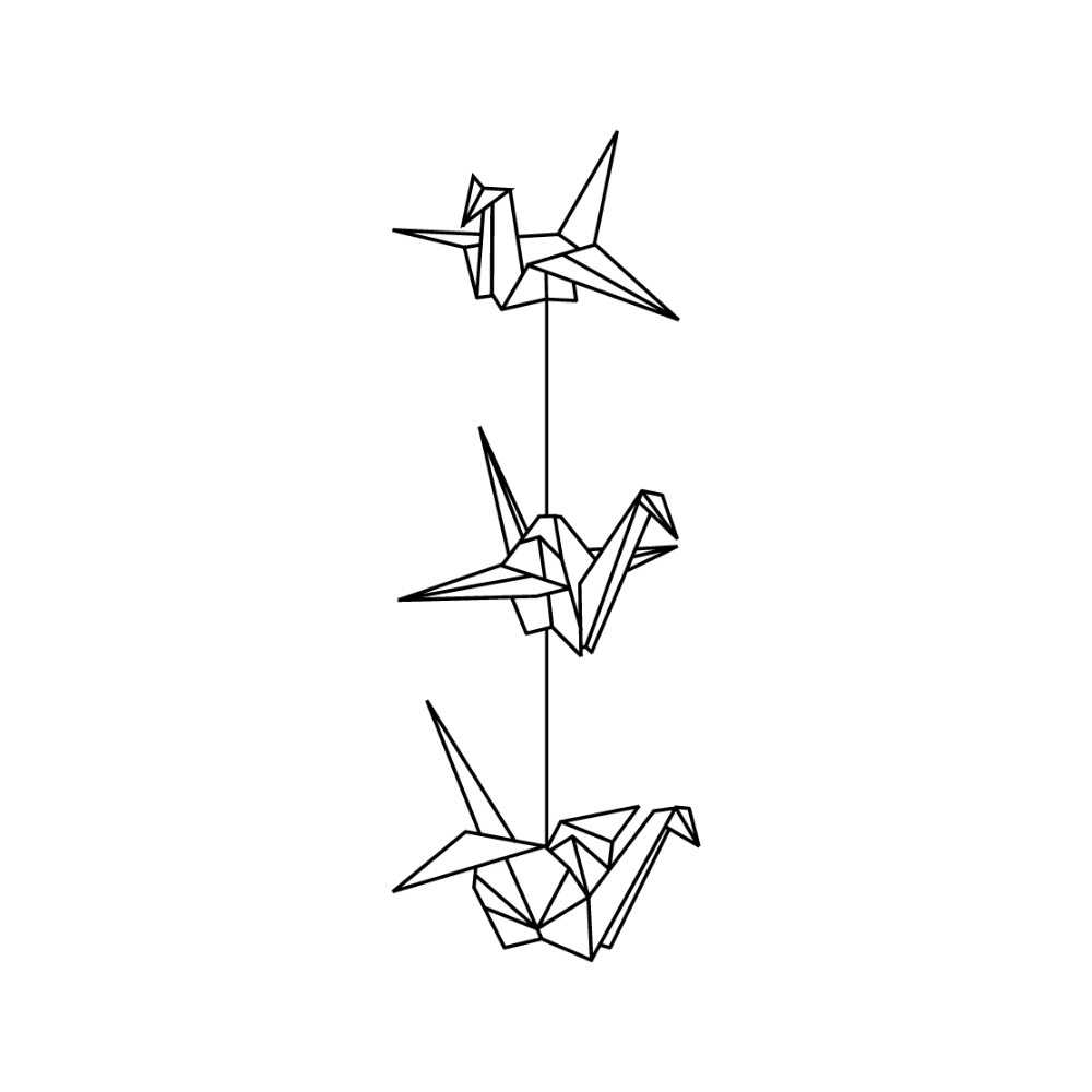 3 Hanging Paper Cranes Tattoo Google Search Paper Crane Tattoo Origami Tattoo Crane Tattoo