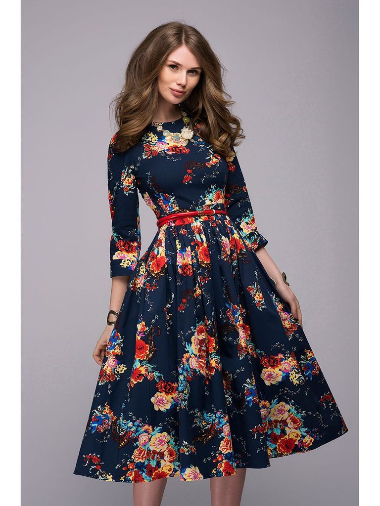 Modest style three quarter sleeve elegant floral printing midi dress